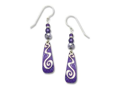 Purple Teardrop Earrings With Silver