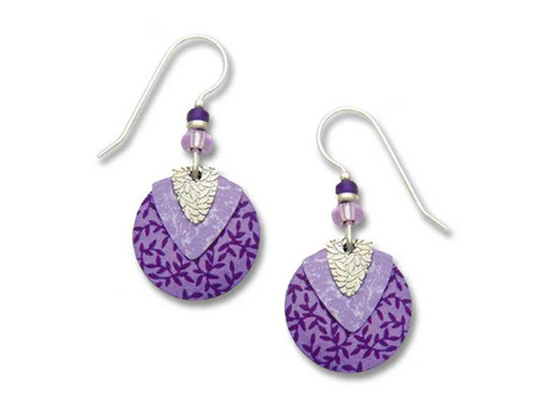 Purple Floral Circle Earrings