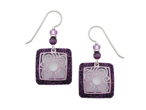 Purple And Silver Square Earrings