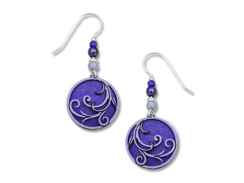 Purple Circle Wave Earrings