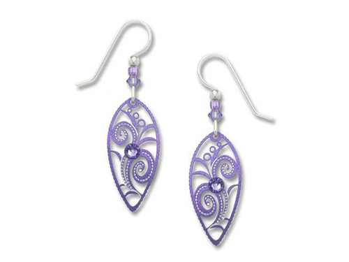 Purple Floral Almond Earrings