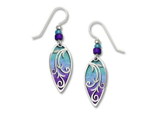 Purple Inverted Teardrop Oceanic Earrings
