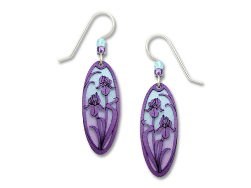 Purple Oval Earrings With Flowers
