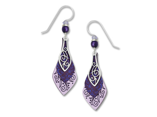 Purple Teardrop Earrings With Silver Inlay