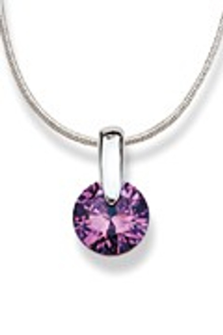 Purple Sterling Silver Round Amethyst Necklace