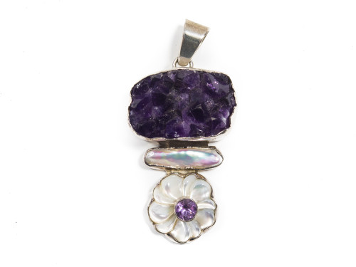 Purple Amethyst And Pearl Flower Pendant