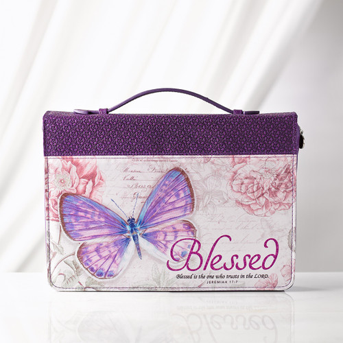 Purple Blessed Butterfly Bible Cover