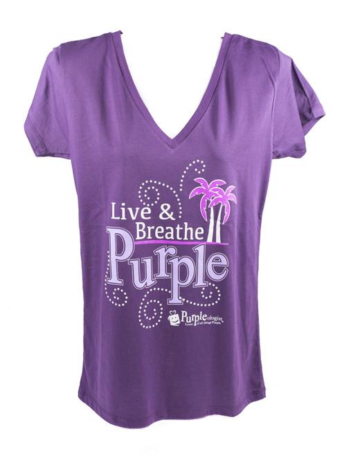 Live & Breathe Purple Women's V-Neck