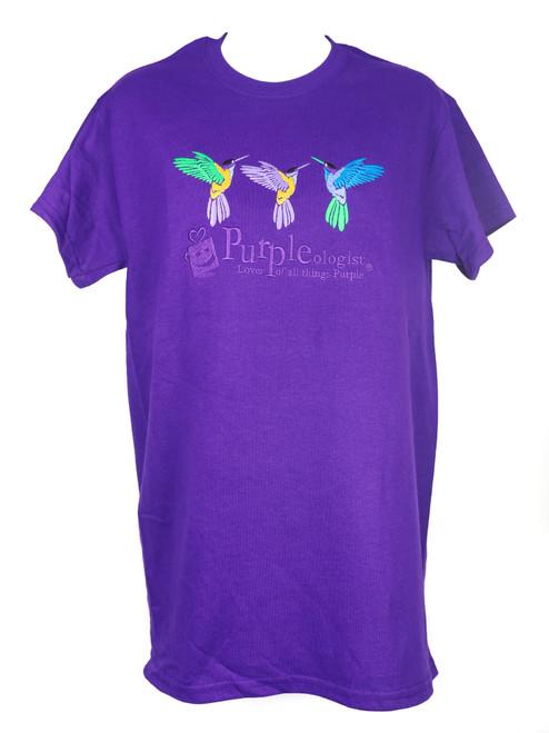 Purpleologist Hummingbird Adult T-Shirt