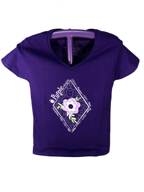 Purpleologist Language and Floral Design V-Neck Shirt