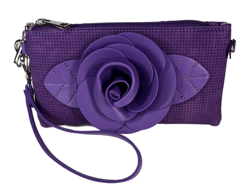 Purple Flower Embellished Wristlet