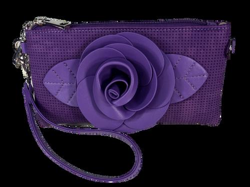 Purple Flower Embellished Wristlet