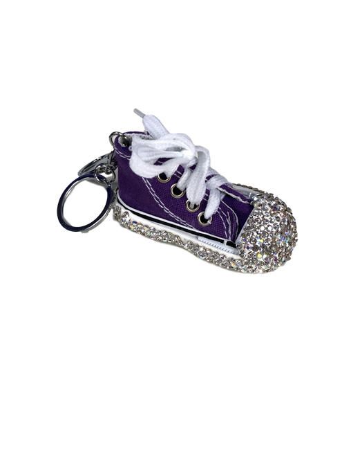 Dark Purple Bling Converse Shoe Keychain