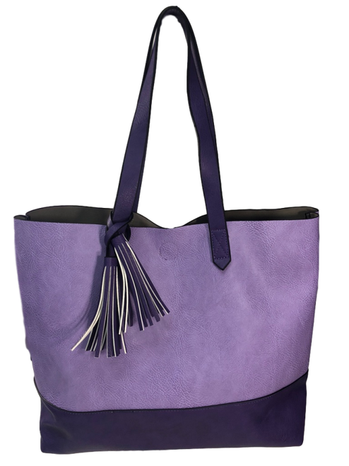 Two Toned Tote Tassel Bag