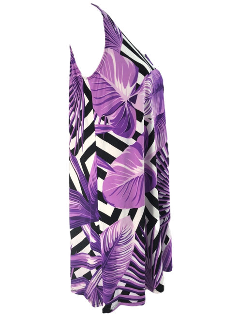Purple Palm Scoop Neck Sun Dress