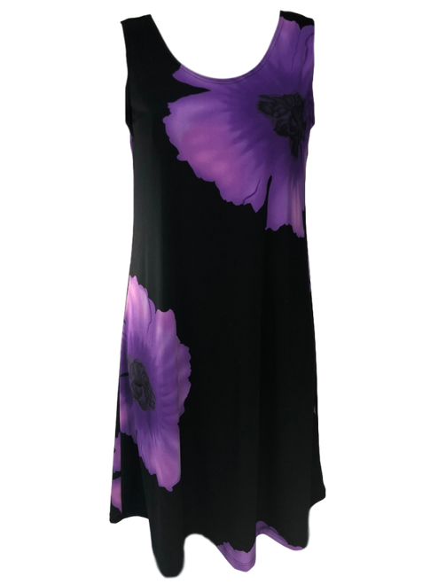 Purple and Black Floral Bud Dress