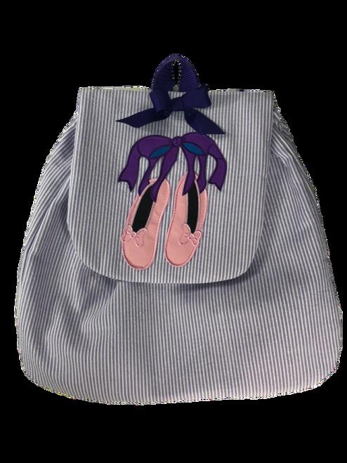 Purple Stripe Ballet Backpack