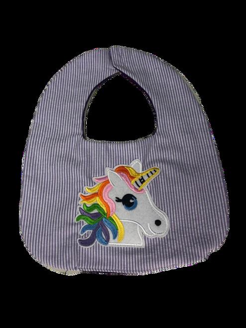Purple Stripe Unicorn Baby Bib