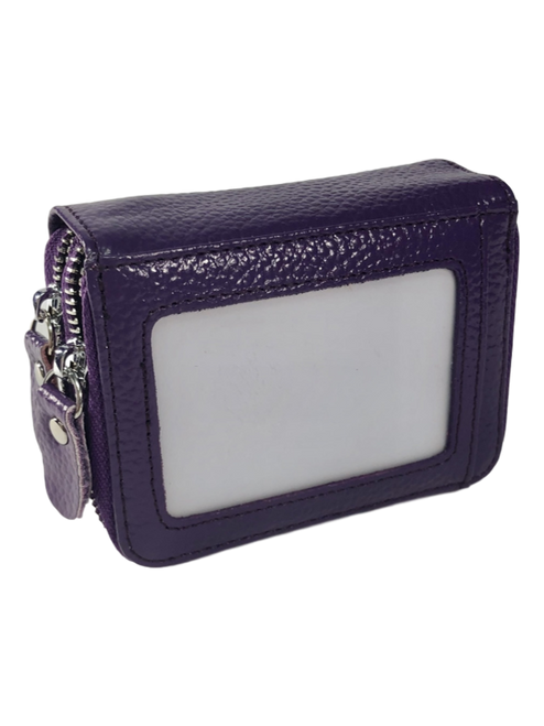Solid Purple Leather Cardholder  Wallet