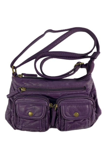 Multi Pocket Faux Leather Purple Purse
