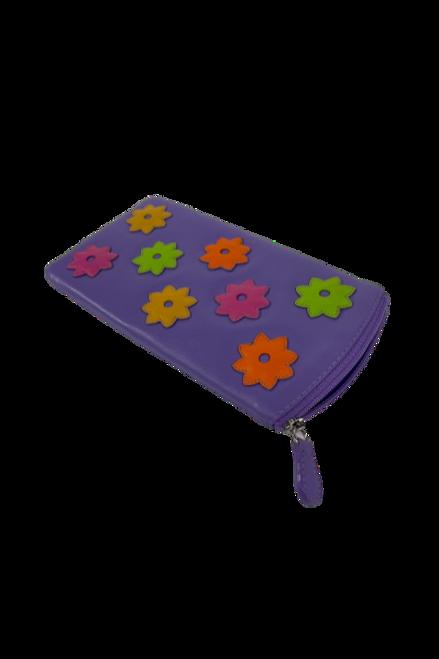 Multi-Colored Floral Purple Eyeglass Case