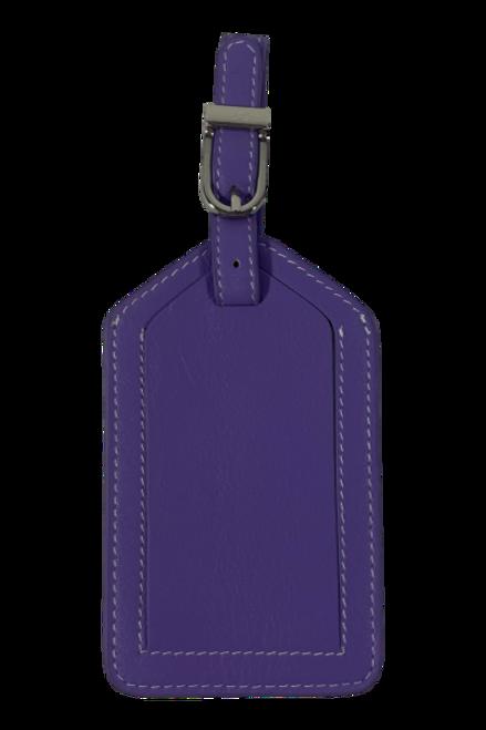 Purple Leather Luggage Tag
