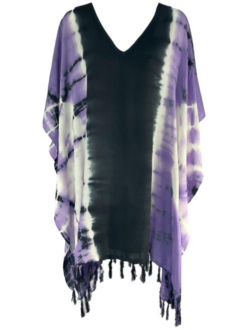 Bold Purple and Black Tie Dye Poncho Cover Up