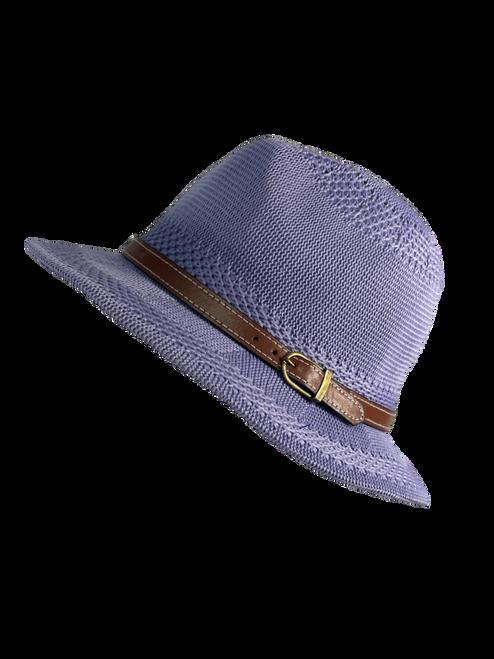 Purple Leather Buckle Fedora Hat