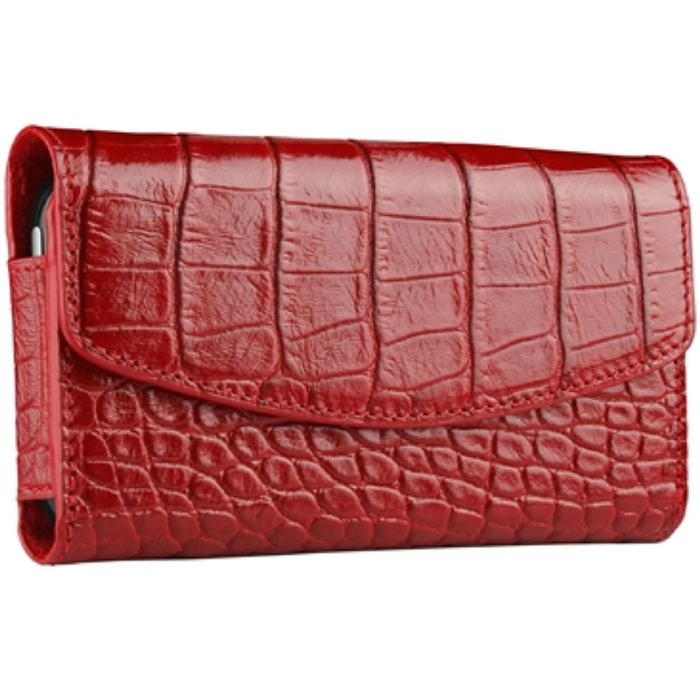 new products 558aa 2524f Sena Bumper Leather Wallet Pouch for iPhone 4 / 4S - Croco Red