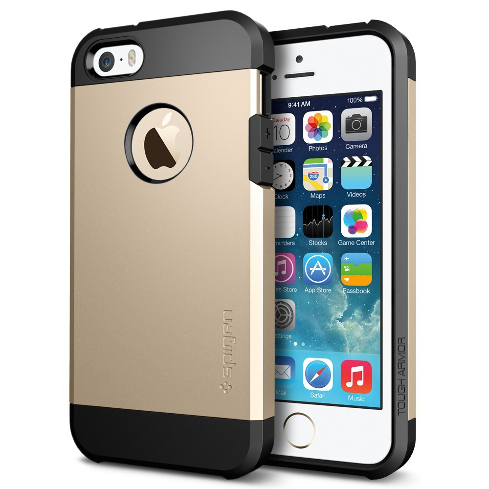 reputable site 78f2d a2b53 Spigen Tough Armor for iPhone 5S - Champagne Gold