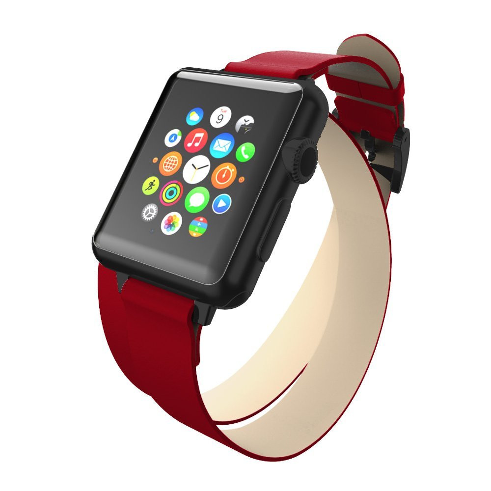 official photos 29141 7d2e5 Incipio Reese Double Wrap Leather Wrap Around Band for Apple Watch 42mm -  Red