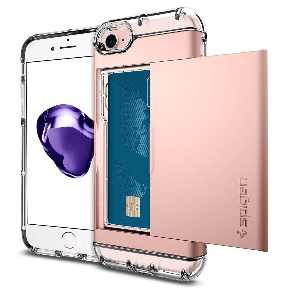 new arrival a63a9 69f13 Spigen Crystal Wallet Case for iPhone 7 - Rose Gold