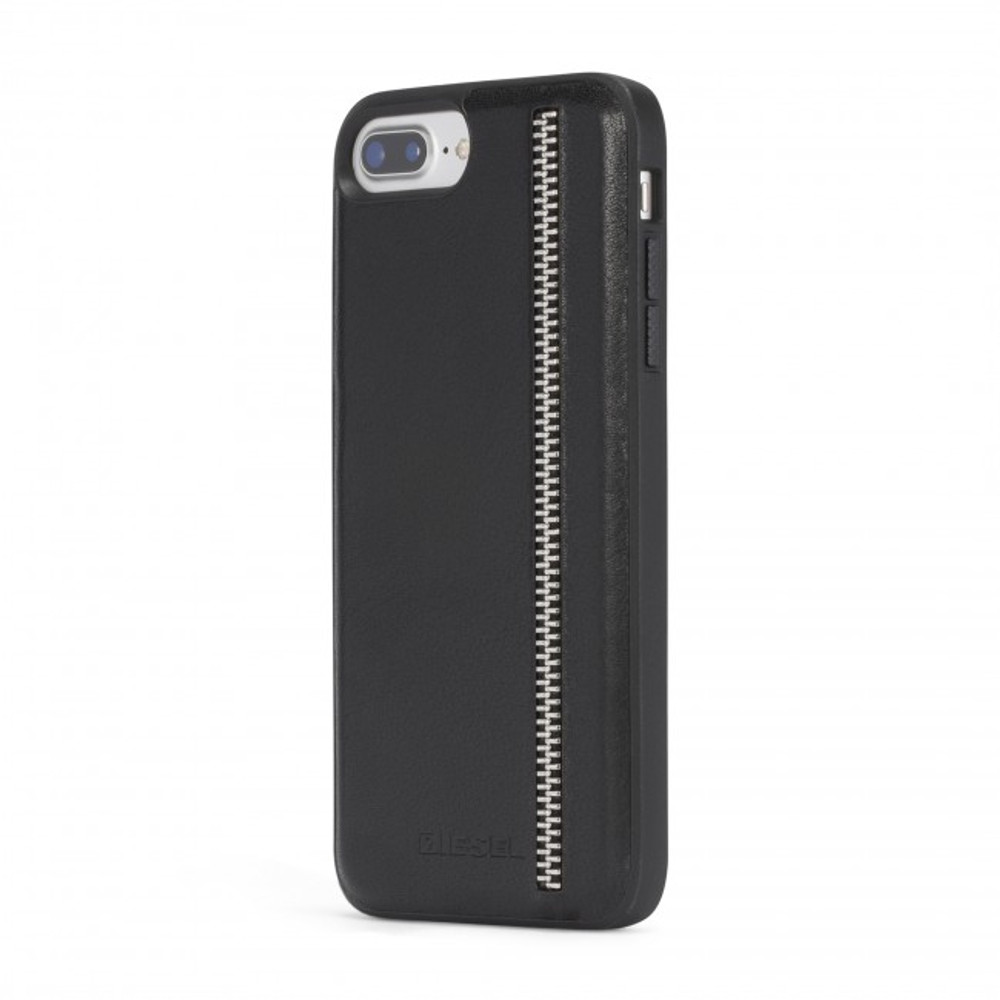 super popular 64ad8 89745 Diesel Leather Co-Mold Case for iPhone 8 Plus, iPhone 7 Plus, iPhone 6/6s  Plus - Zip Black Leather