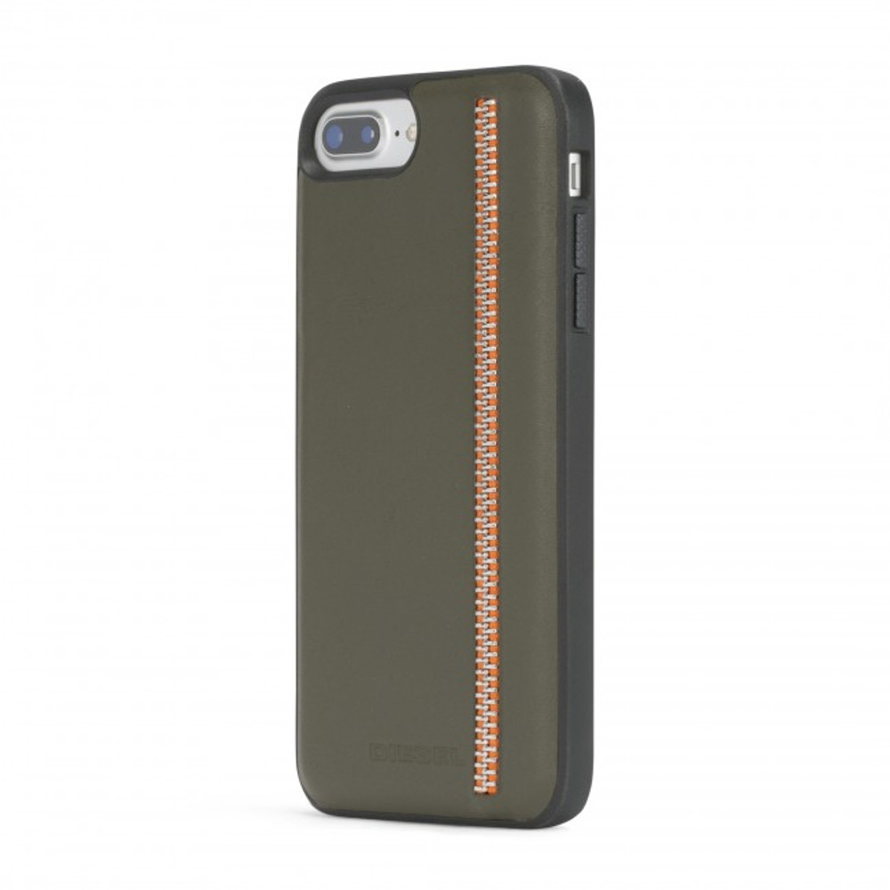 Diesel Leather Co-Mold Case for iPhone 8 Plus, iPhone 7 Plus, iPhone 6/6s Plus - Zip Olive Leather/Orange