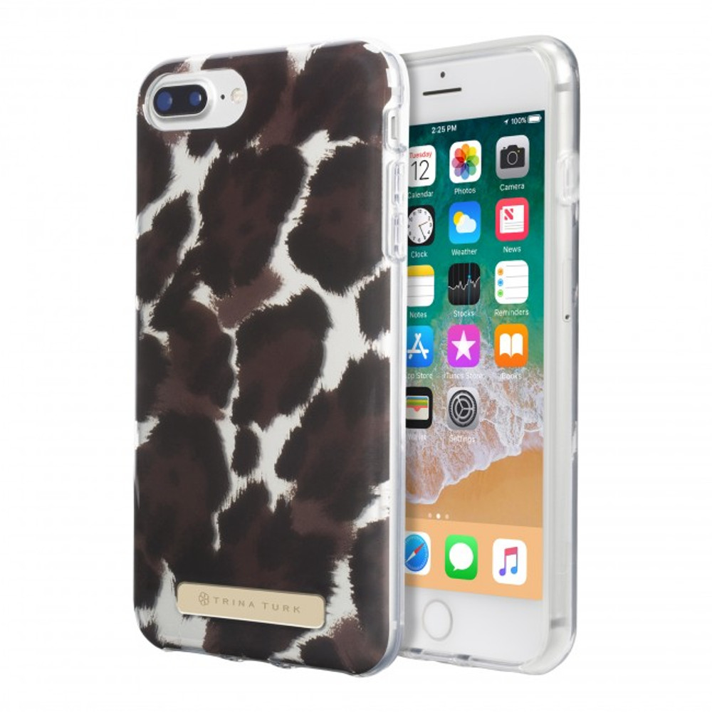 Trina Turk Translucent Case for iPhone 8 Plus -Canyon Cat Brown/Black/Tan Translucent