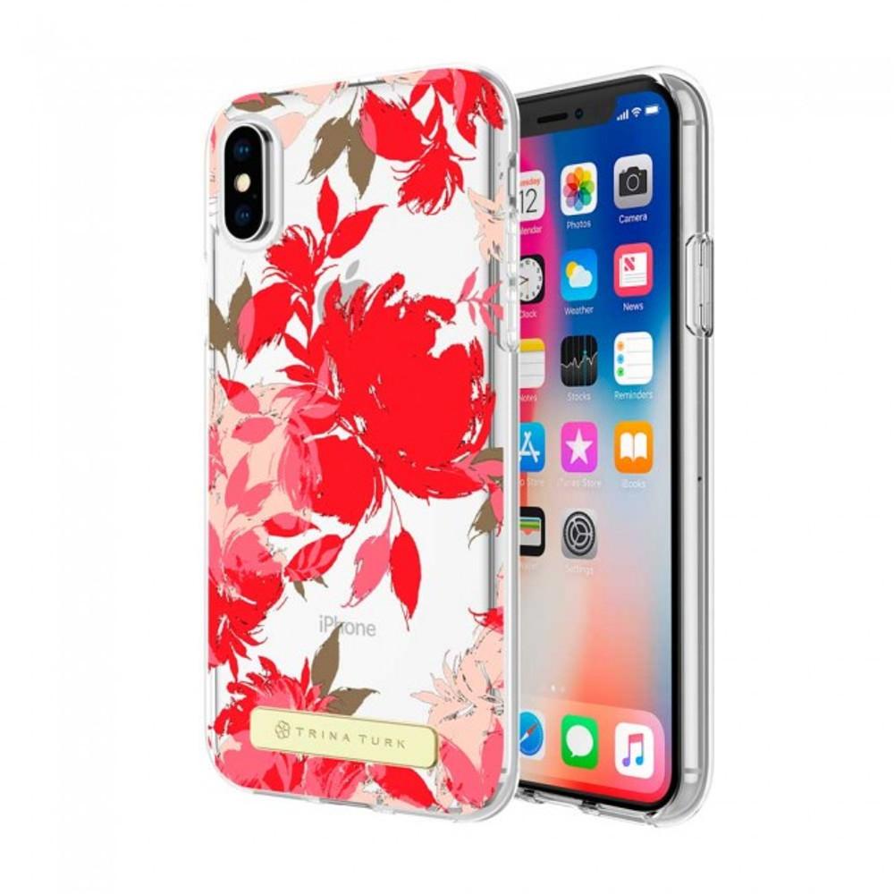 Trina Turk Translucent Case (1-PC) for iPhone X - Wintergarden Red Multi/Black Translucent