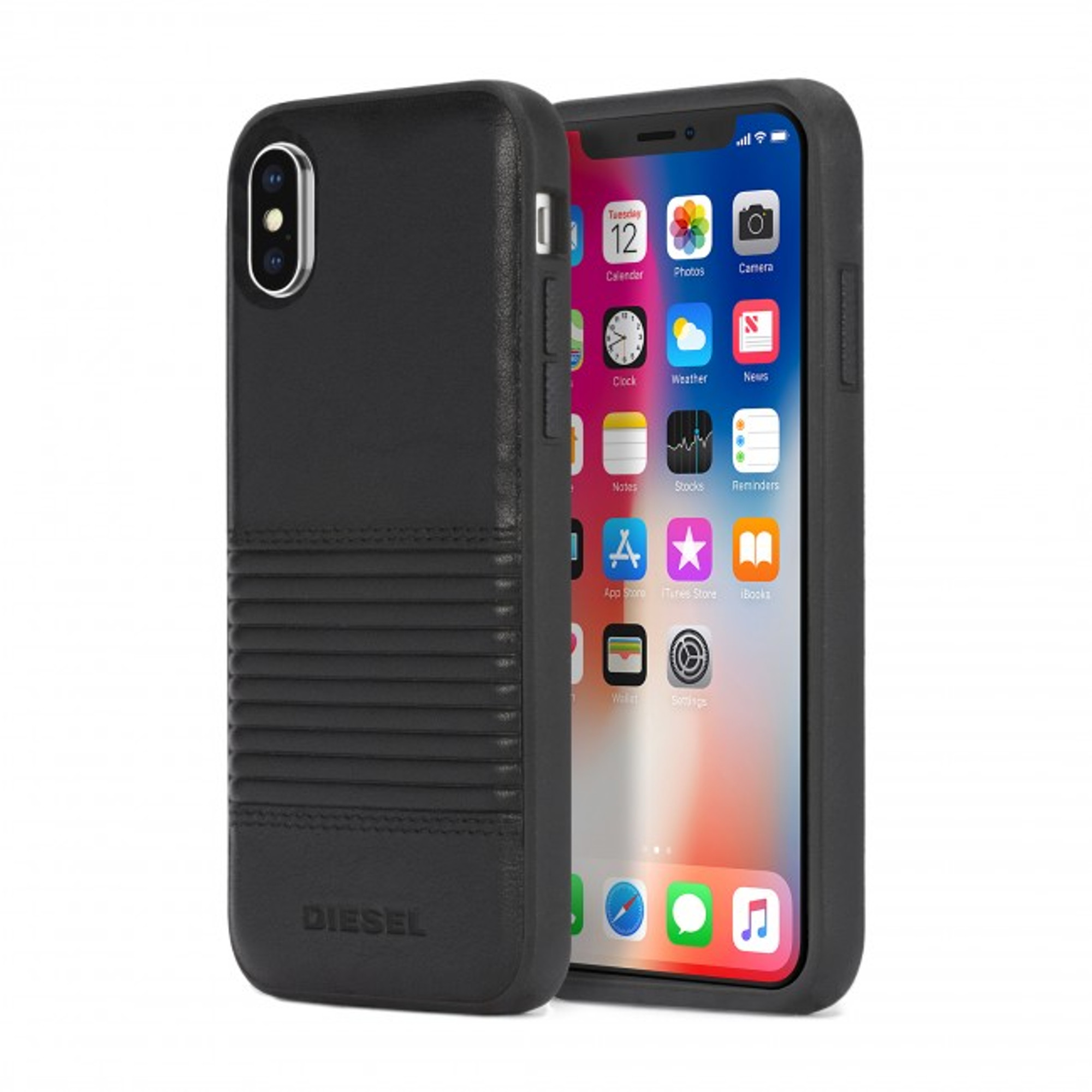 100% authentic 570d3 9ea91 Diesel Leather Co-Mold Case for iPhone X - Black Lined Leather