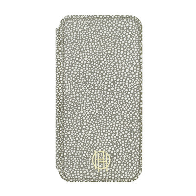 House of Harlow Folio Case for iPhone 7 - Grey Galuchat/Gold Metallic