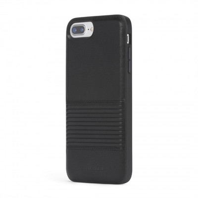 Diesel Leather Co-Mold Case for iPhone 8 Plus, iPhone 7 Plus, iPhone 6/6s Plus - Black Lined Leather
