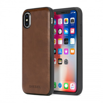Diesel Leather Co-Mold Case for iPhone X - Brown Leather