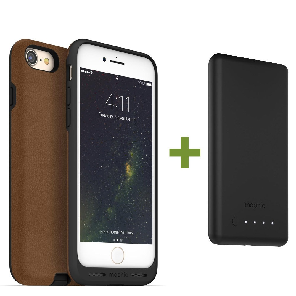 save off 56dc2 5cc42 mophie Charge Force Wireless Charging Bundle - Case / Base for iPhone 8  Plus / 7 Plus - Tan