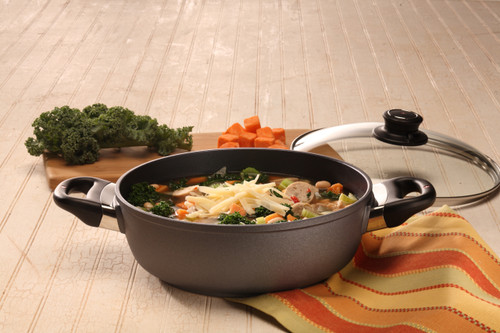 HD Nonstick INDUCTION  DEEP ROUND CASSEROLE WITH GLASS VENTED LID 24cm X 7.5cm 3L