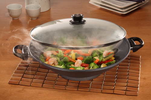 HD Nonstick WOK WITH GLASS VENTED LID and TEMPURA RACK 36CM X 9.5CM 6L