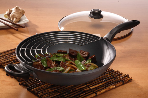 SWISS DIAMOND INDUCTION 32CM X 9.5CM 5L WOK WITH GLASS VENTED LID