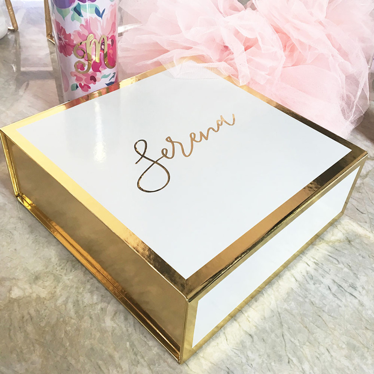 Monogram Gift Box White Gold Perfect For Will You Be My Bridesmaid Gift And Wedding Present