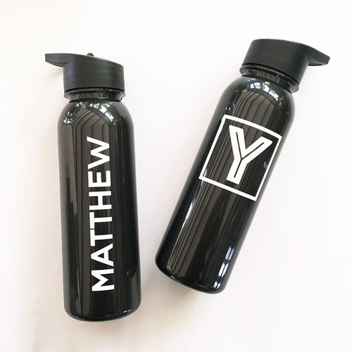 Monogram Sports Bottle in Black