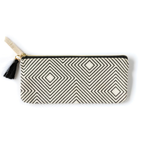 Accessory Pouch-Black & White Geometric