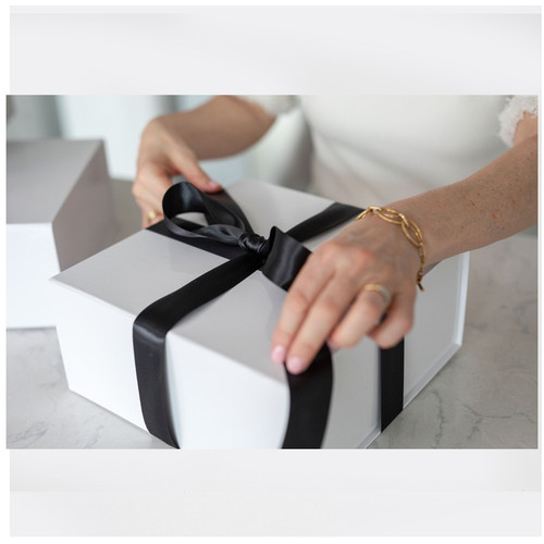 Add a Glossy White Magnetic Gift Box, Crinkle & Silk Bow