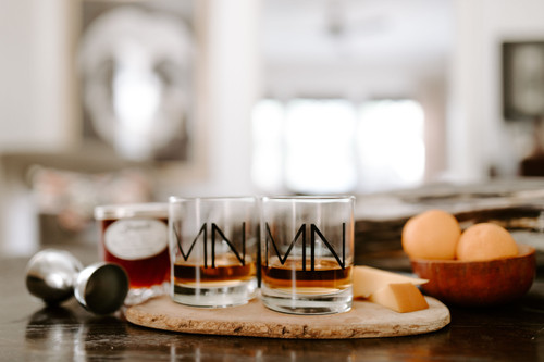 Whiskey Glass with MN Monogram