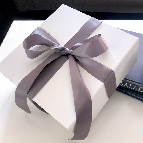 """Add a Matte White Magnetic Gift Box, Crinkle & Silk Bow (10.5"""")"""